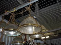 Vintage Hanging lights ribbed glass brass accents in Chicago, Illinois
