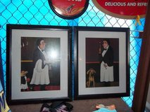 Set of 2 Framed Waiter Pictures in Westmont, Illinois